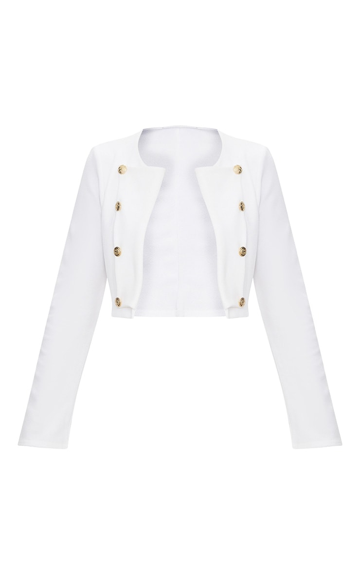 White Military Cropped Jacket  3