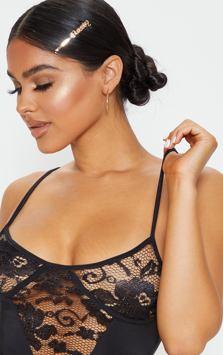 Petite Black Strappy Lace Bodysuit 6