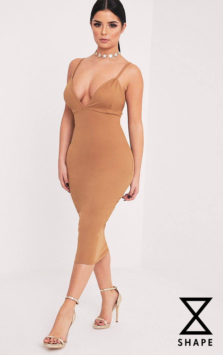 Shape Siana Camel Plunge Midaxi Dress  1