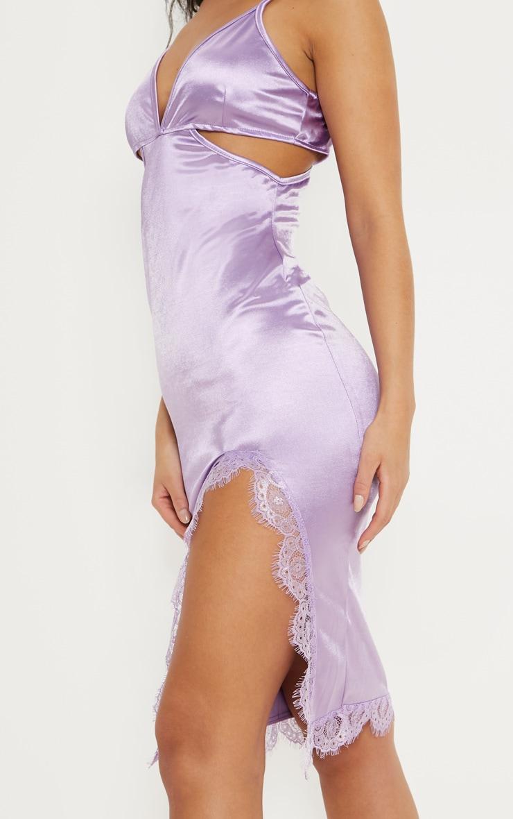 Lilac Satin Cut Out Lace Trim Midi Dress 5