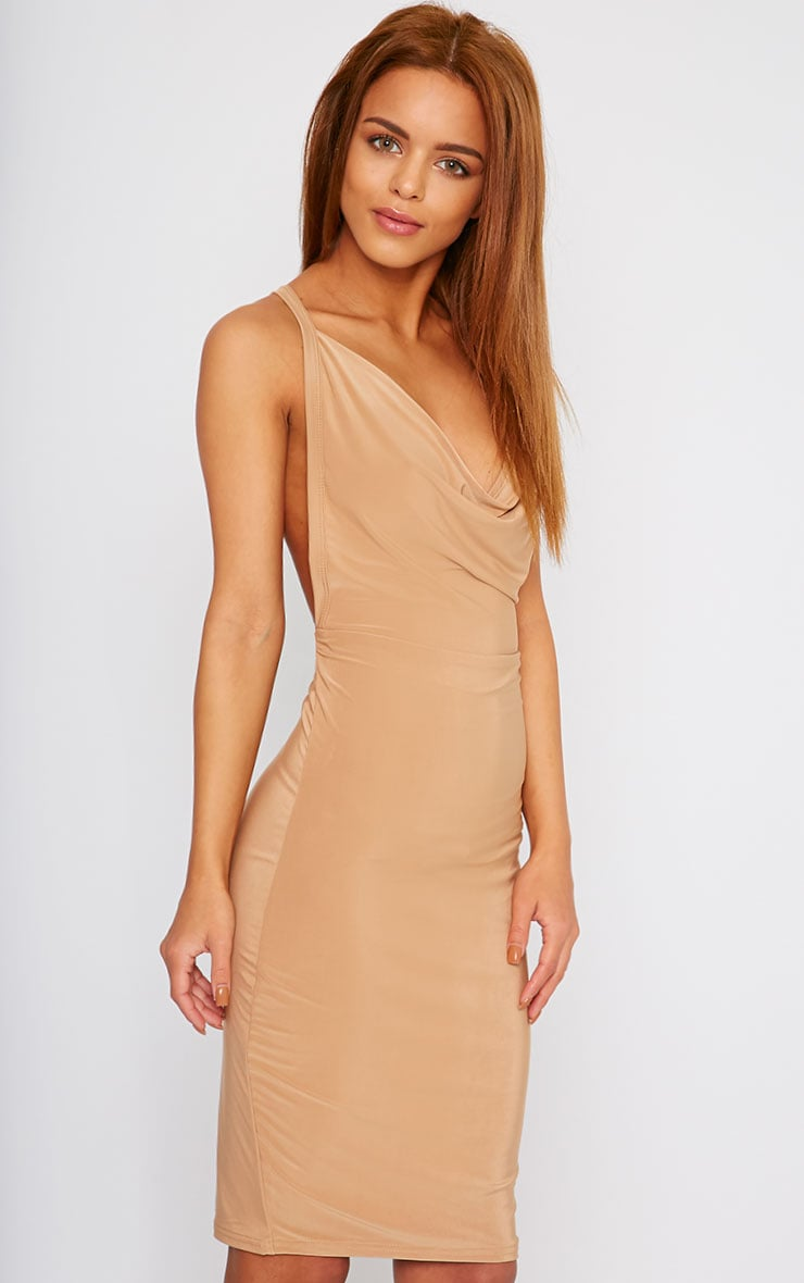 Orion Camel Slinky Cowl Neck Dress 1