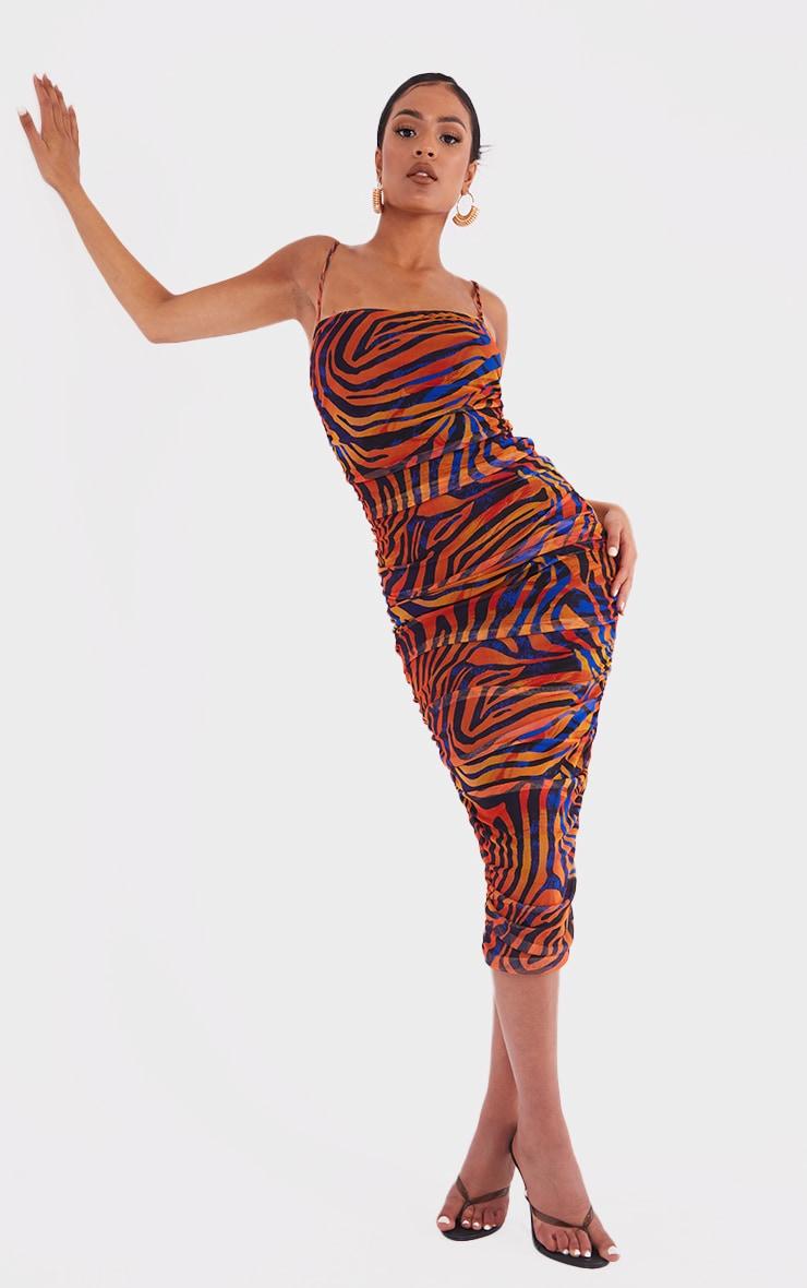 Tall  Blue Zebra Print Mesh Ruched Maxi Dress 1