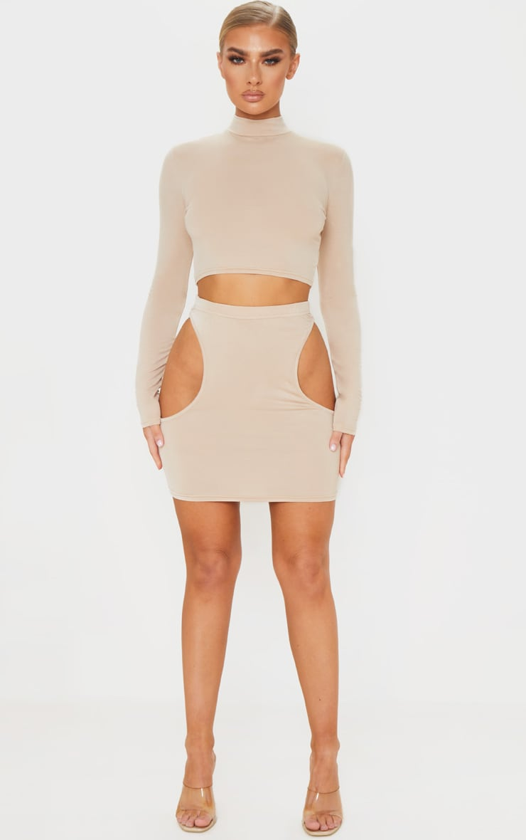 Stone Jersey Cut Out Side Mini Skirt 1