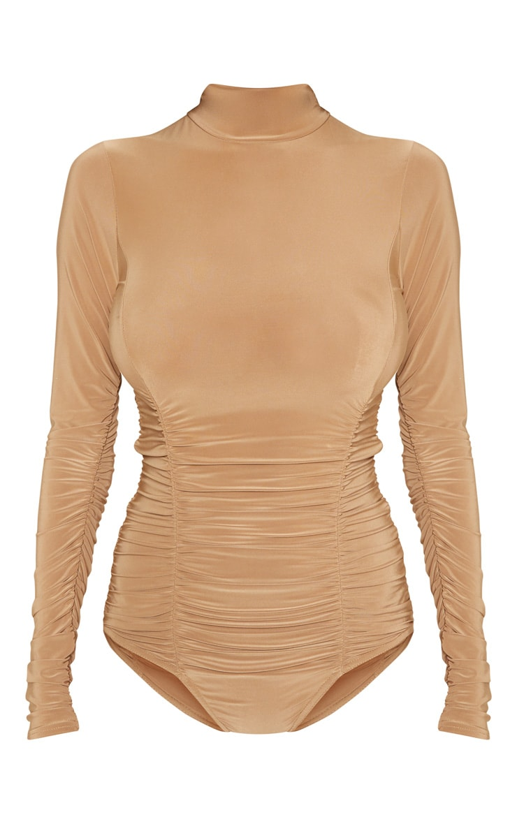 Champagne Slinky High Neck Ruched Bodysuit 3