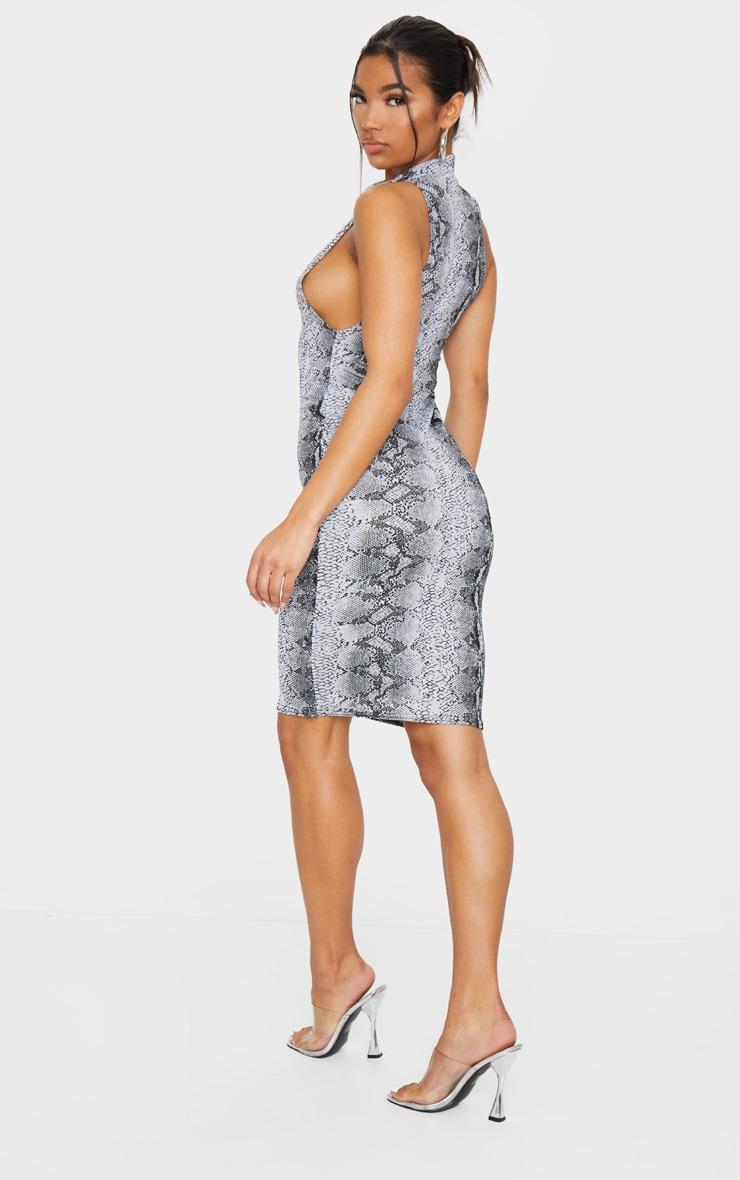Grey Snake Print High Neck Midi Dress 2
