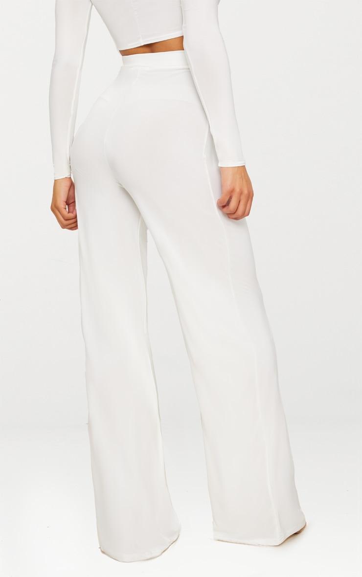 Cream Slinky Wide Leg Pants  4