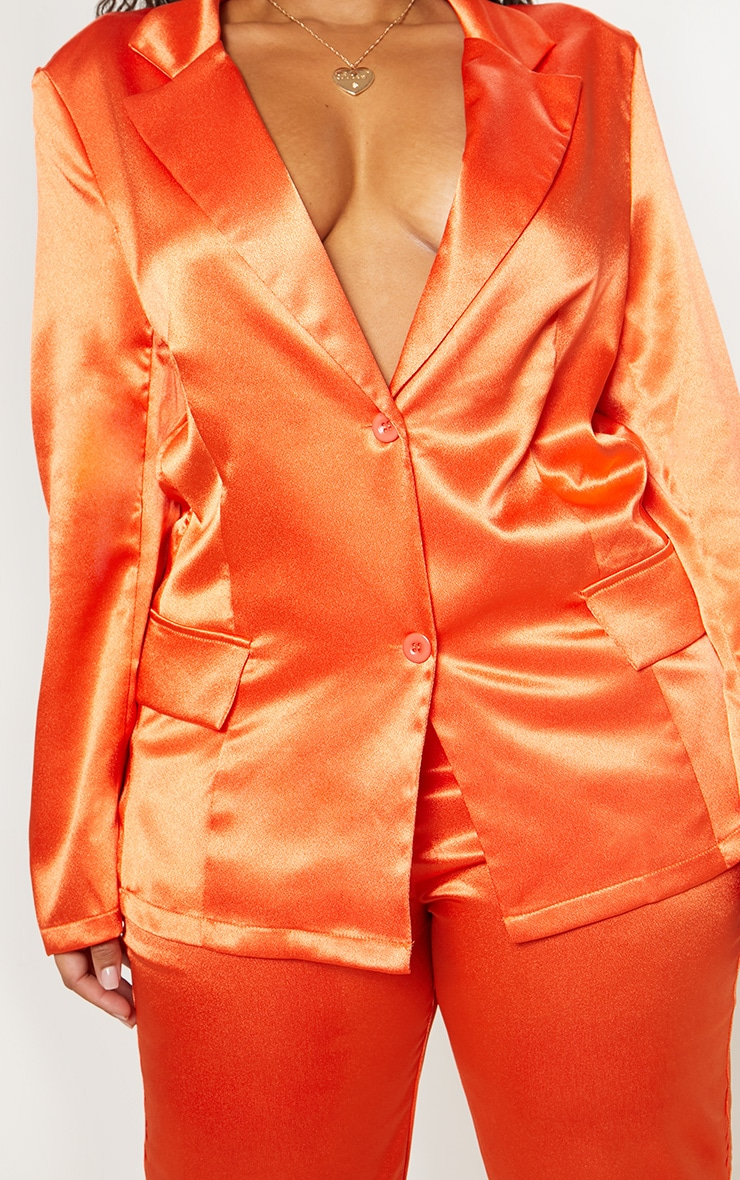 Plus Orange Satin Blazer  5