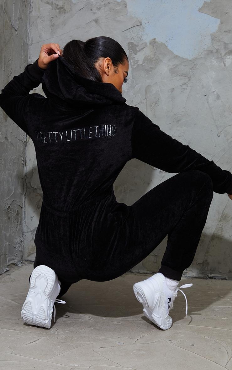 PRETTYLITTLETHING Black Diamante Back Velour Jumpsuit 1