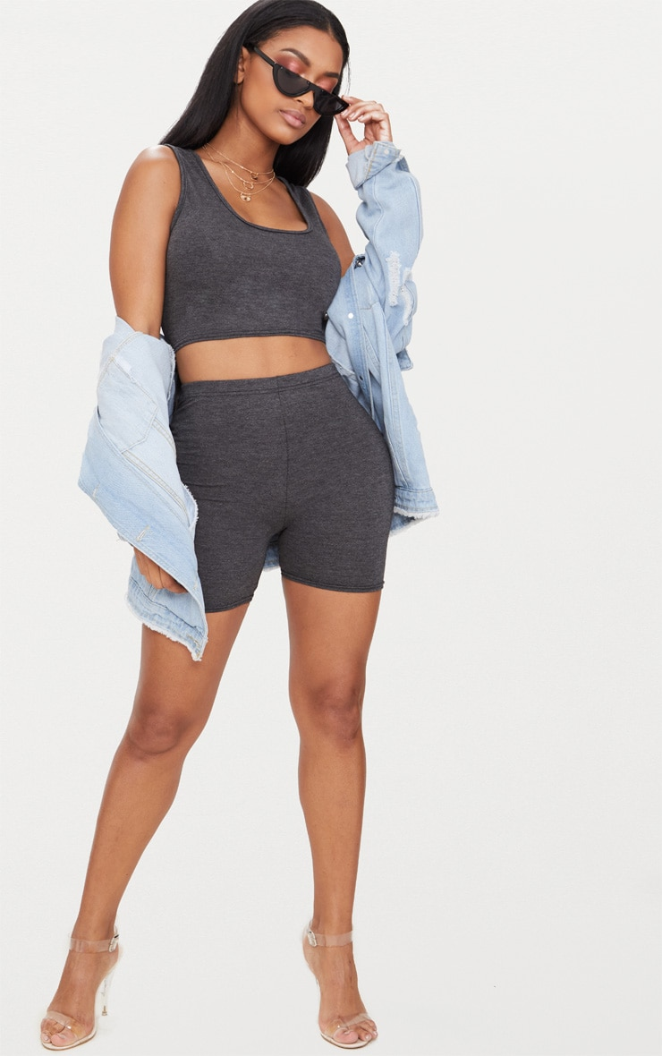 Shape Charcoal Jersey Scoop Neck Crop Top 4