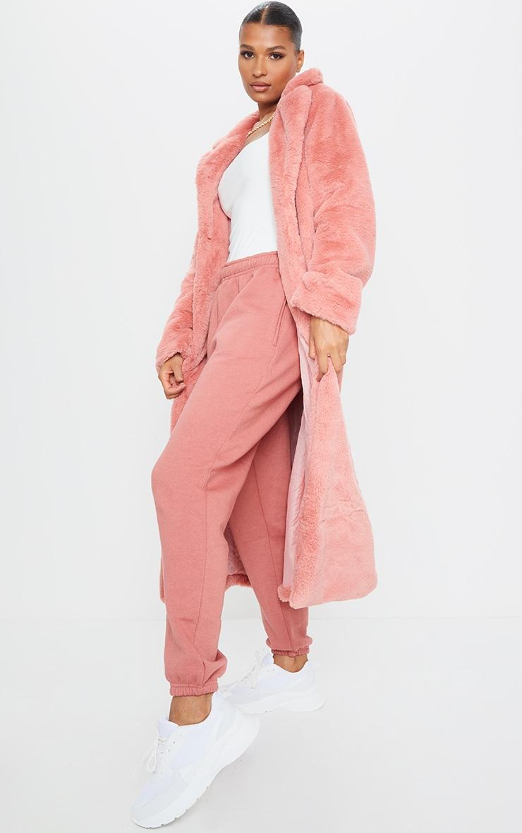 Pink Maxi Faux Fur Coat 3