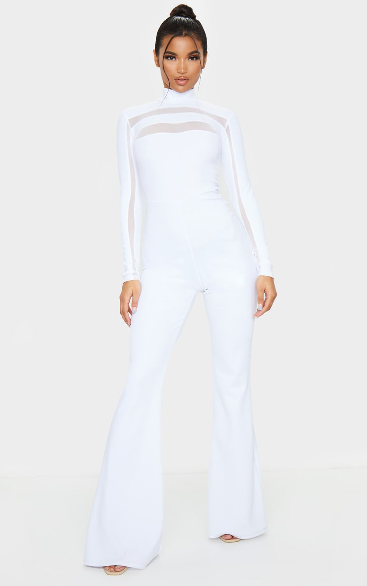 White High Neck Mesh Insert Long Sleeve Jumpsuit 4