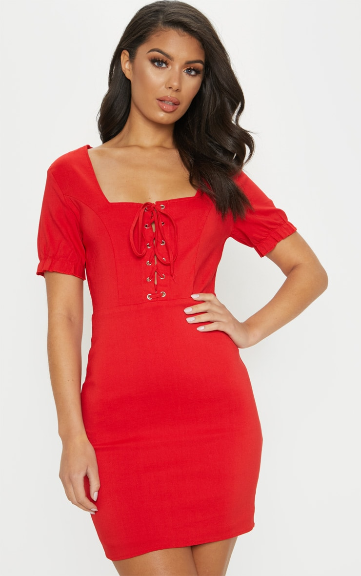 Red Lace Up Frill Detail Bodycon Dress 1