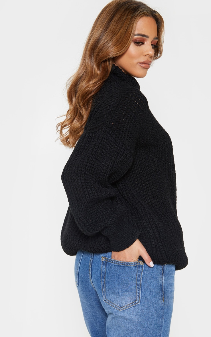 Petite Black Roll Neck Oversized Chunky Knit Sweater 2