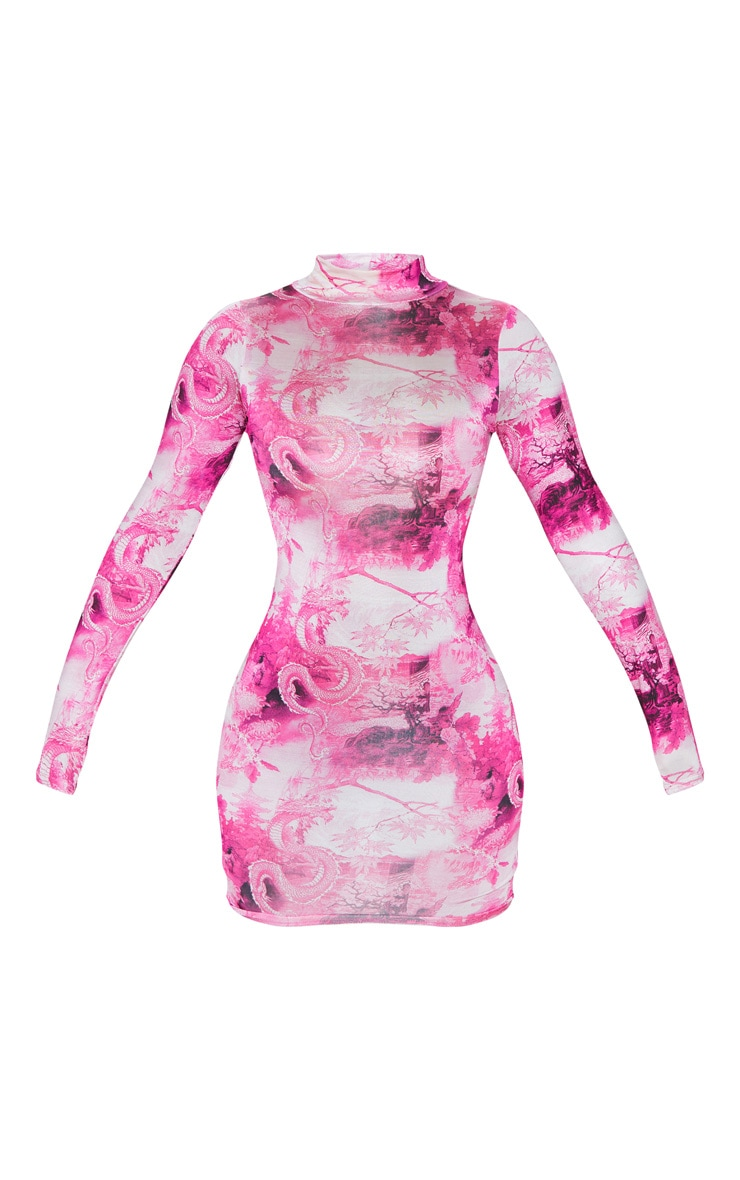 Hot Pink Oriental Print Slinky High Neck Long Sleeve Bodycon Dress 3