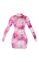 Hot Pink Dragon Print Slinky High Neck Long Sleeve Bodycon Dress 3