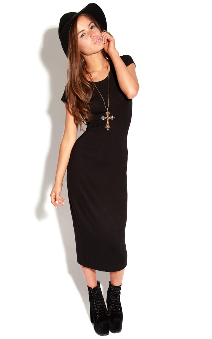 Lily Black Basic Midi Dress 1