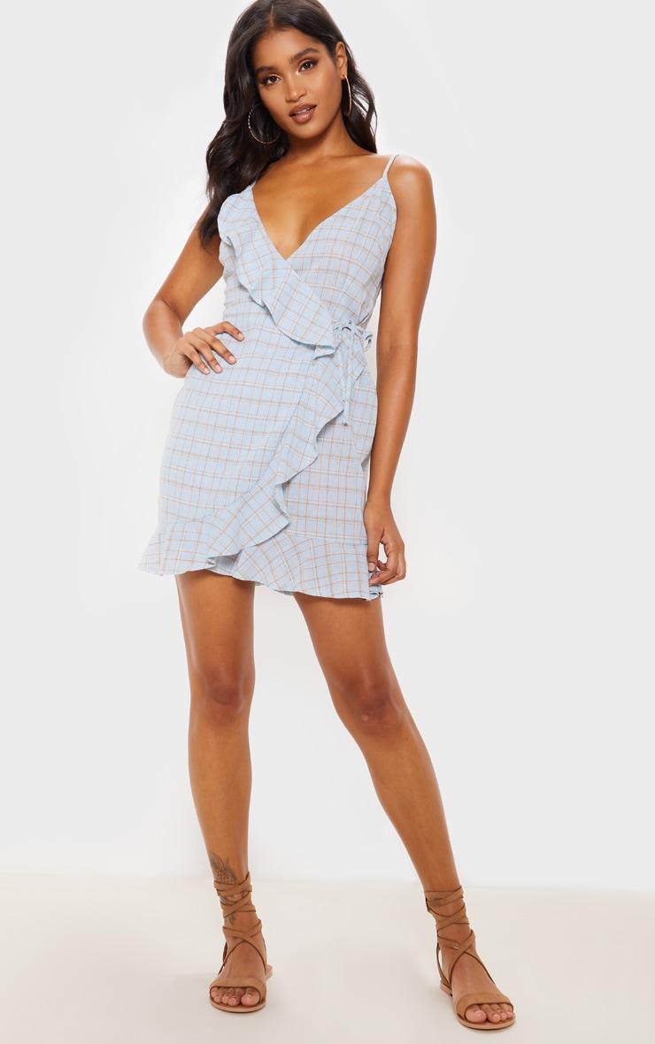 Blue Check Print Lace Up Back Ruffle Tea Dress 4