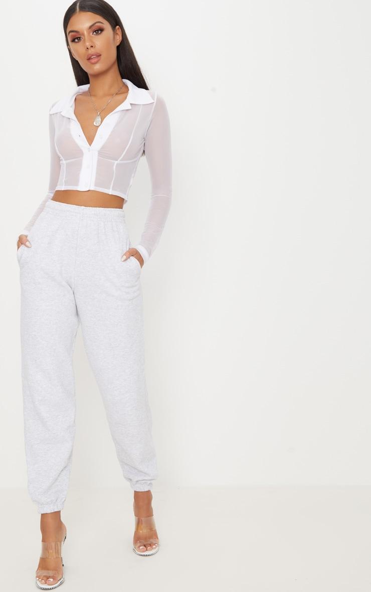 White Sheer Mesh Long Sleeve Crop Shirt 4