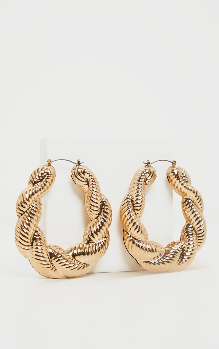 Gold Creole Large Hoop Earrings 2