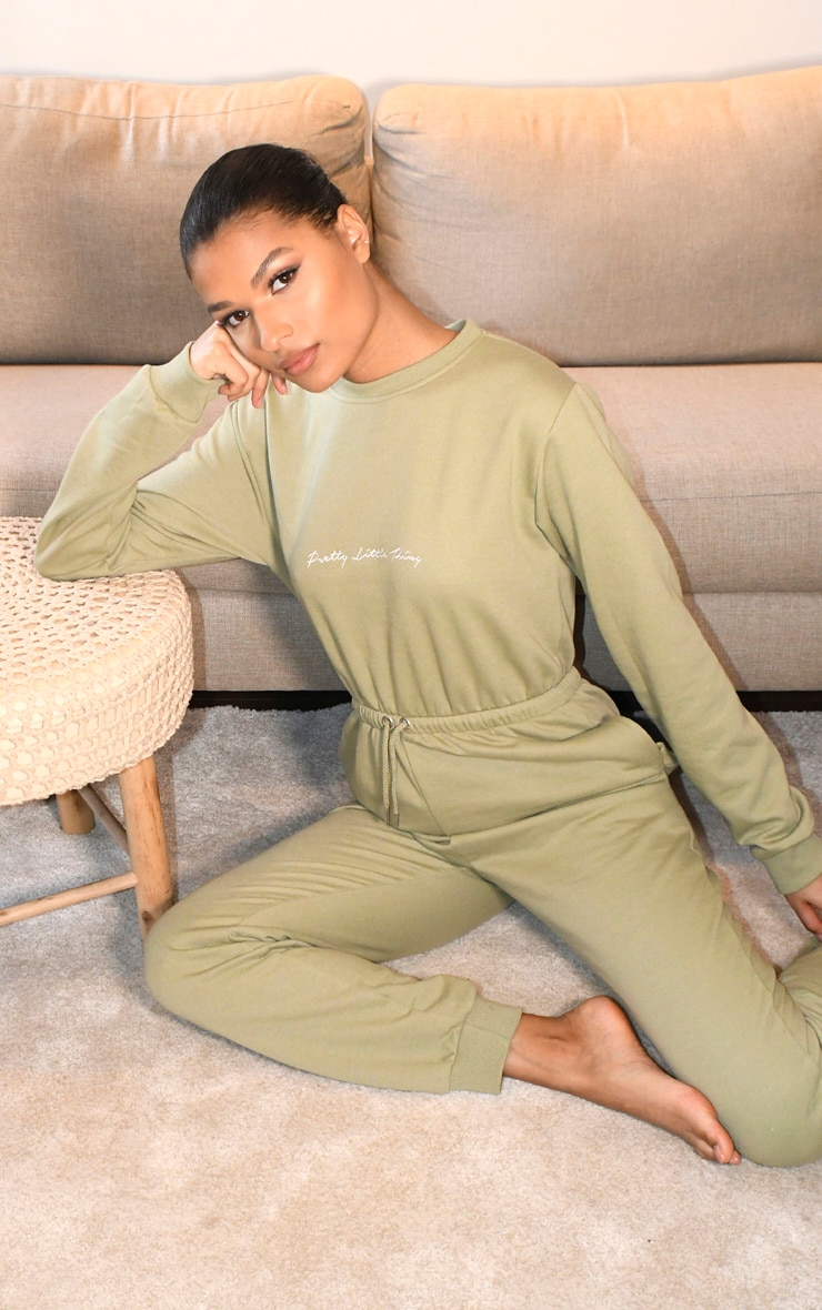 PRETTYLITTLETHING Sage Green Embroidered Sweat Jumpsuit 4