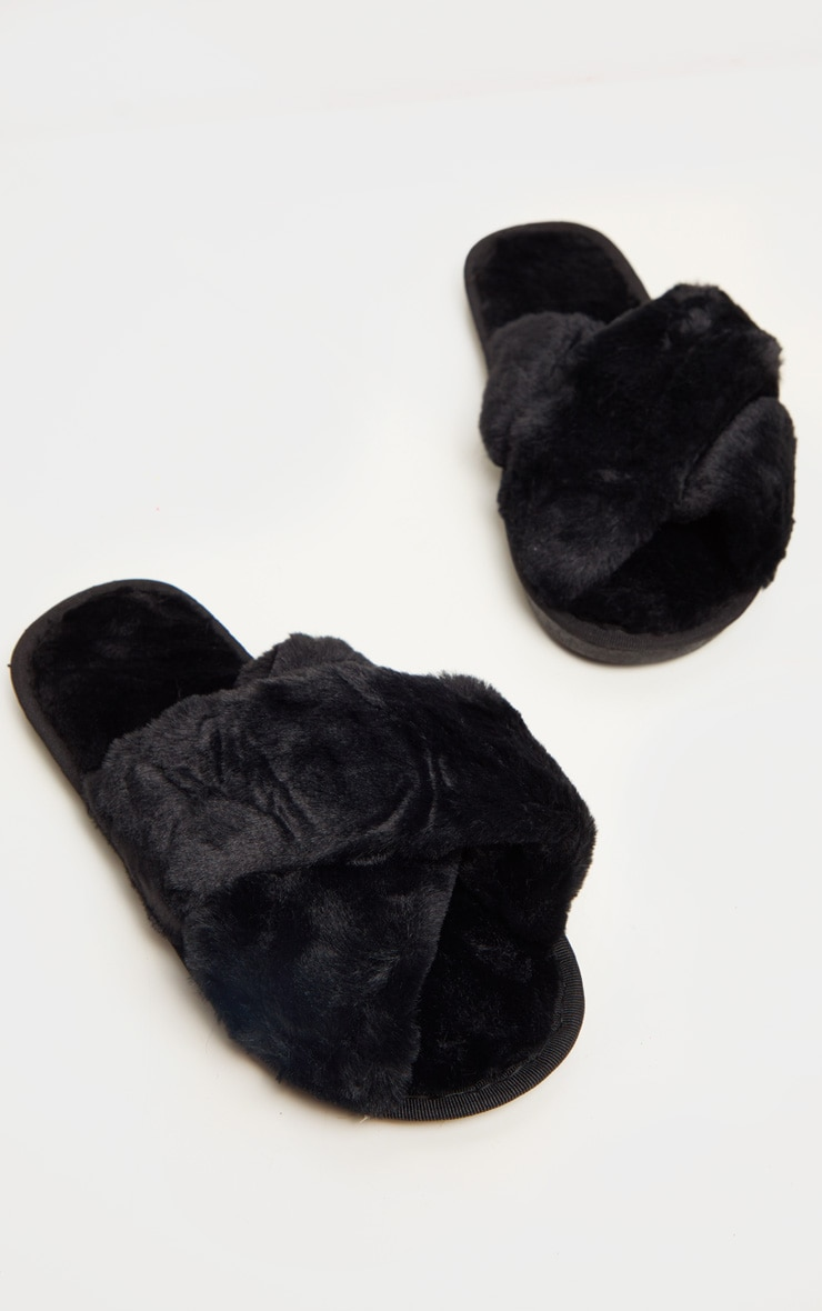 Black Fluffy Cross Strap Slippers 3
