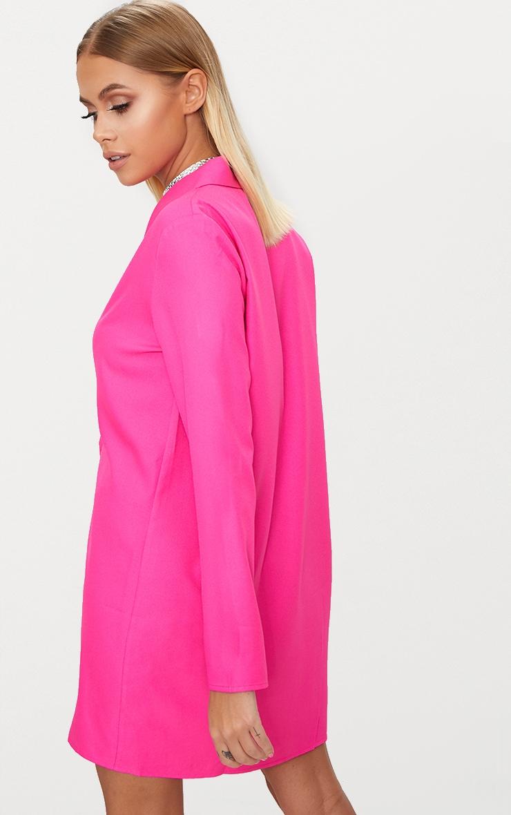 Fuchsia Oversized Blazer Shift Dress 2