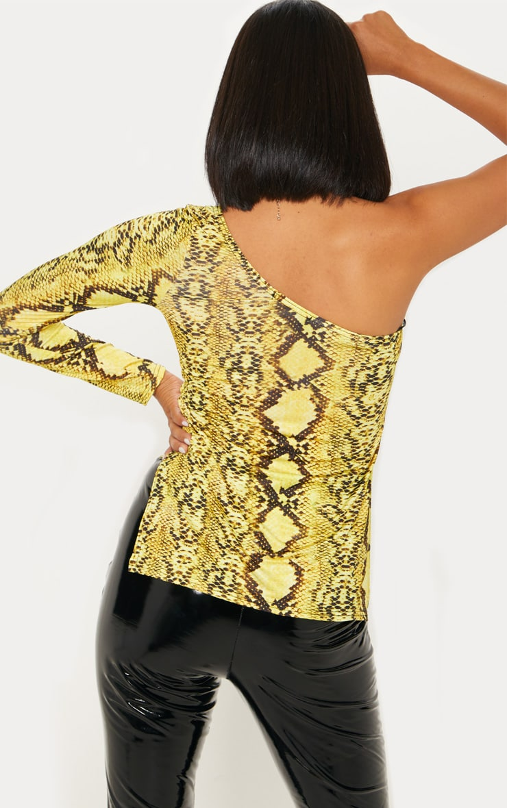 Yellow Snake Print One Shoulder Top 2