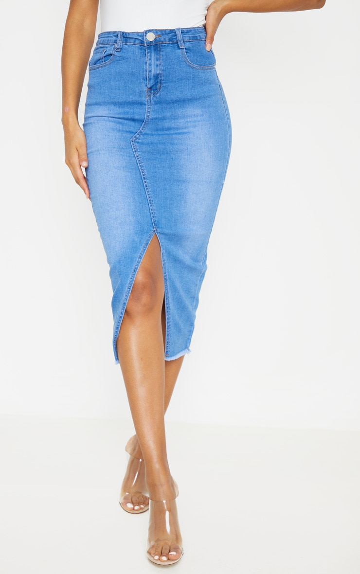 Mid Wash Denim Midi Skirt 2