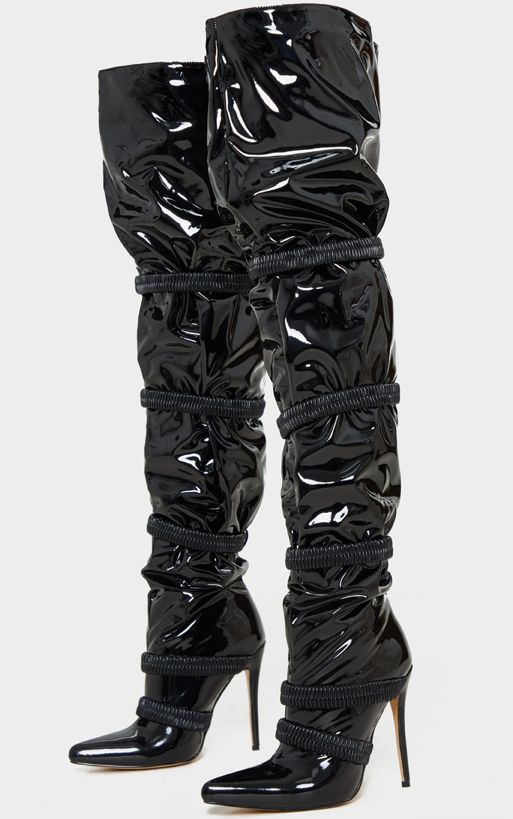 Black Elastic Detail Thigh High Boot 3