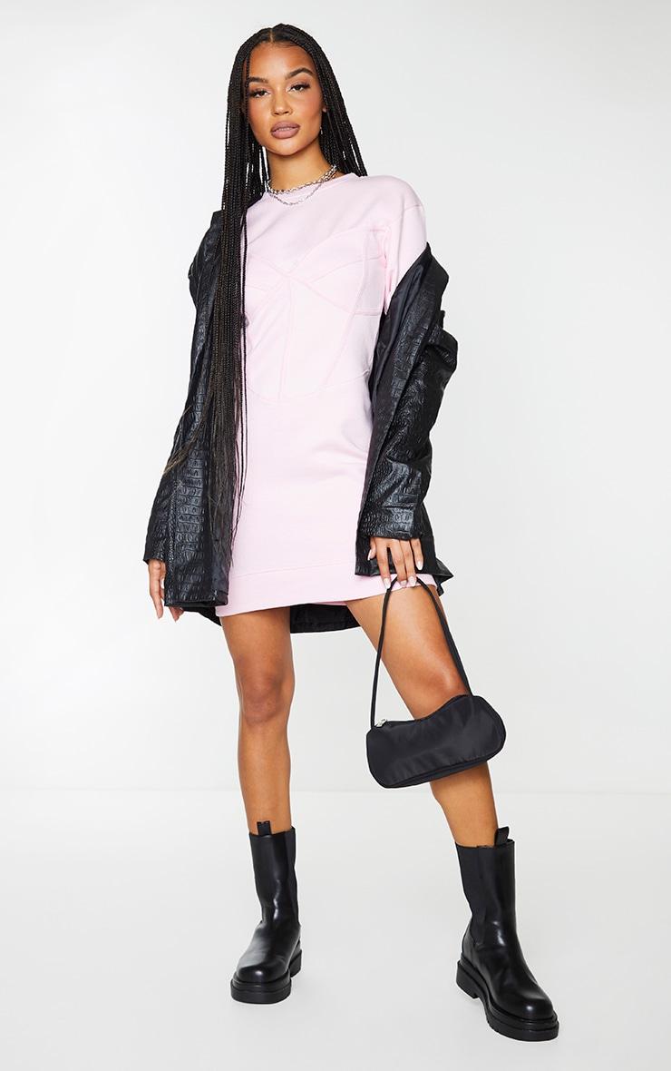 Baby Pink Binding Bust Corset Detail Sweater Dress 3