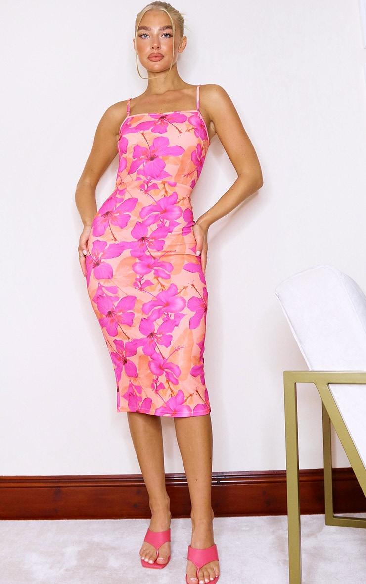 Coral Floral Print Crepe Strappy Midi Dress 1