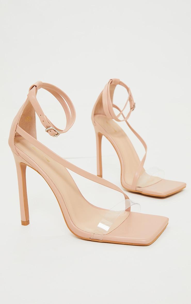Nude PU Clear Strap Asymmetric High Heels 3