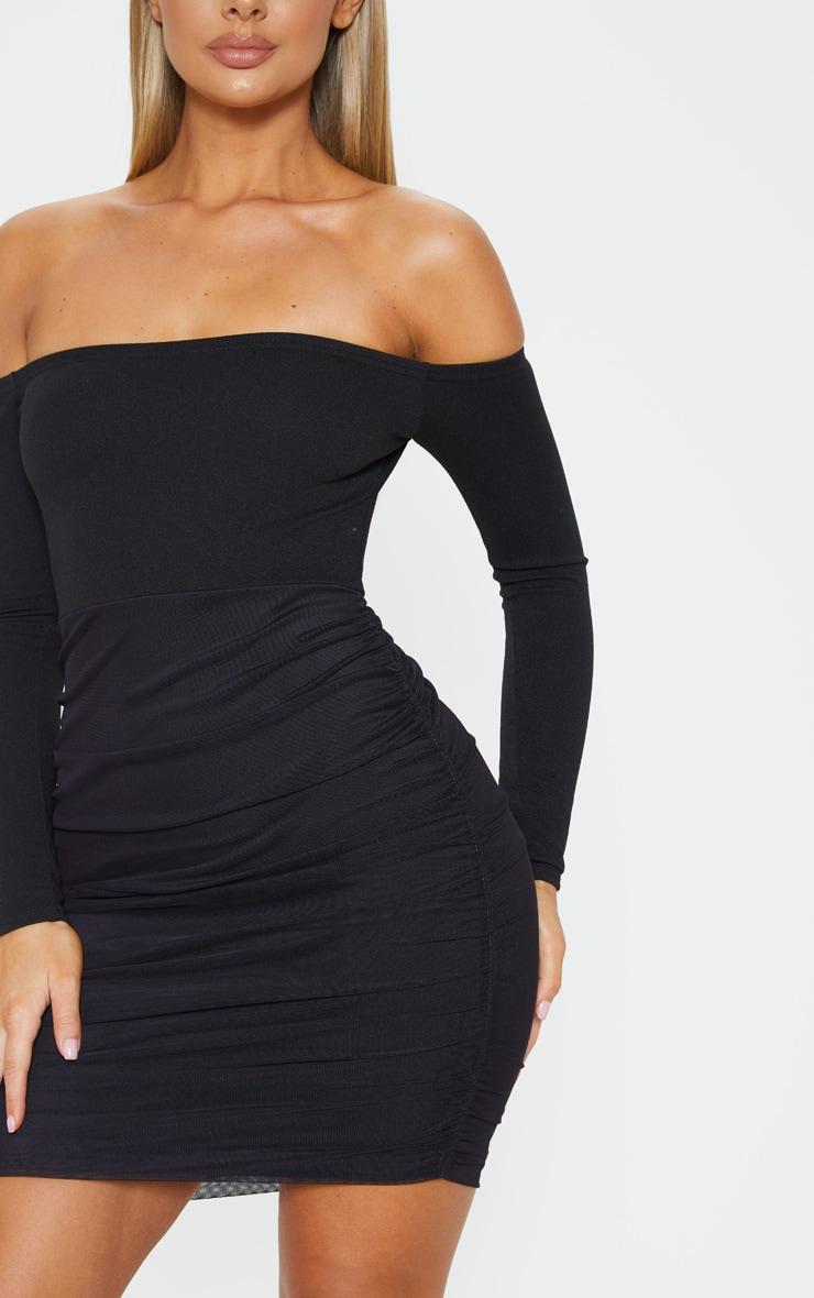 Black Bardot Long Sleeve Ruched Bodycon Dress 5