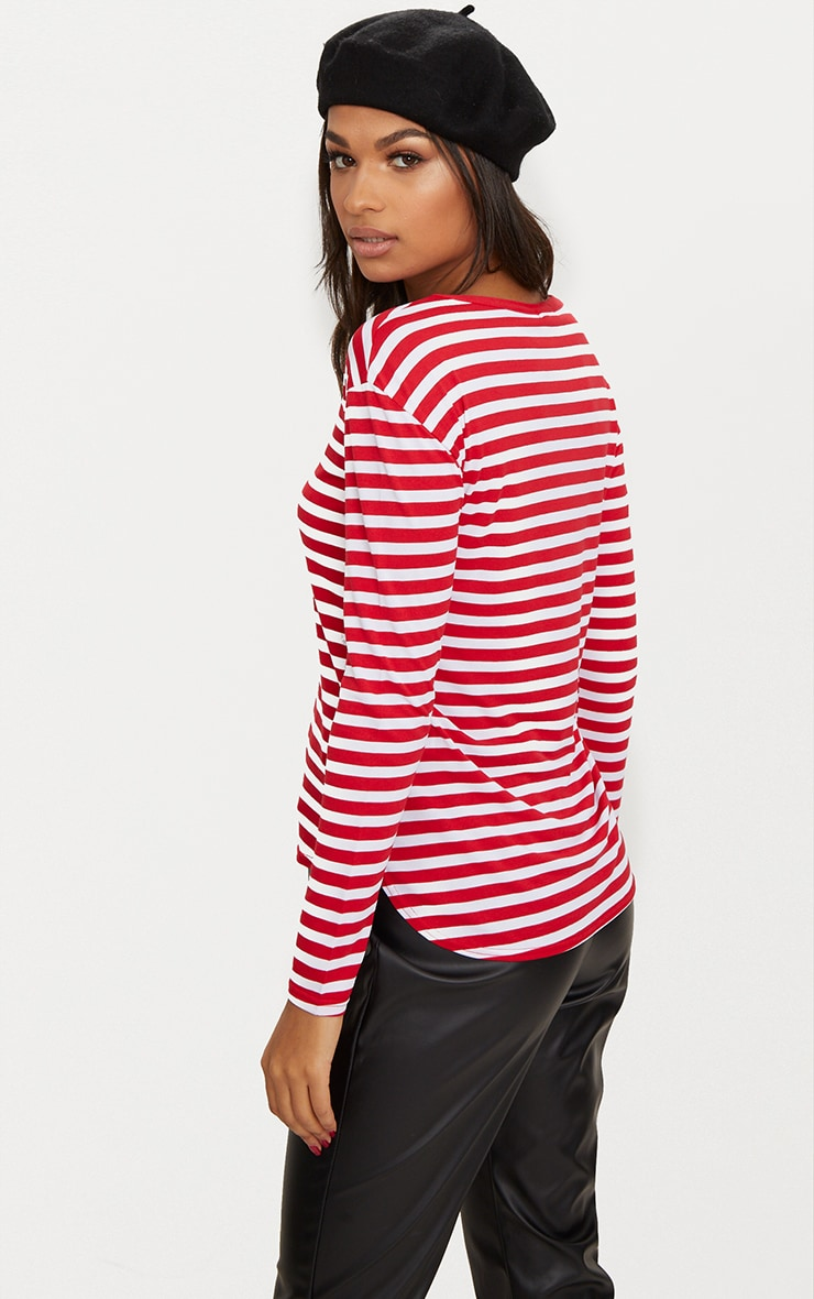 Red Stripe Jersey Long Sleeve Top 2
