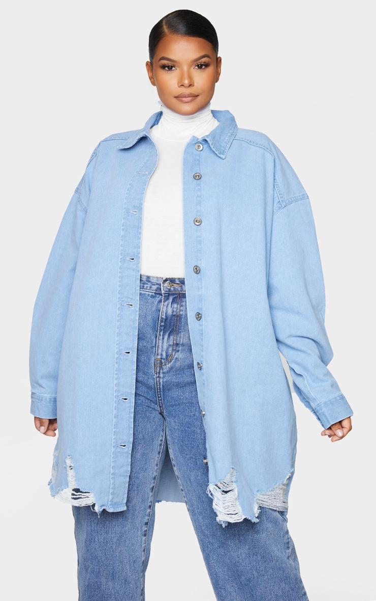 Plus Mid Blue Oversized Ripped Hem Denim Shirt 3