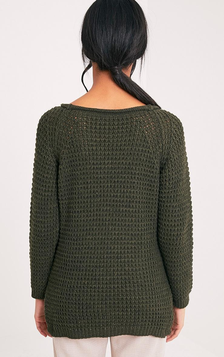 Haidyn Khaki Lace Up Knitted Jumper 2