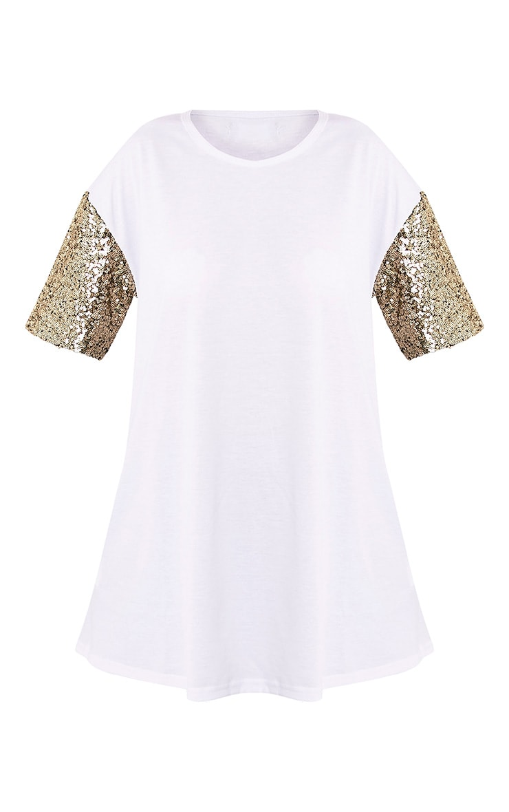 Rei White Sequin Sleeve Jersey Oversized T Shirt 3