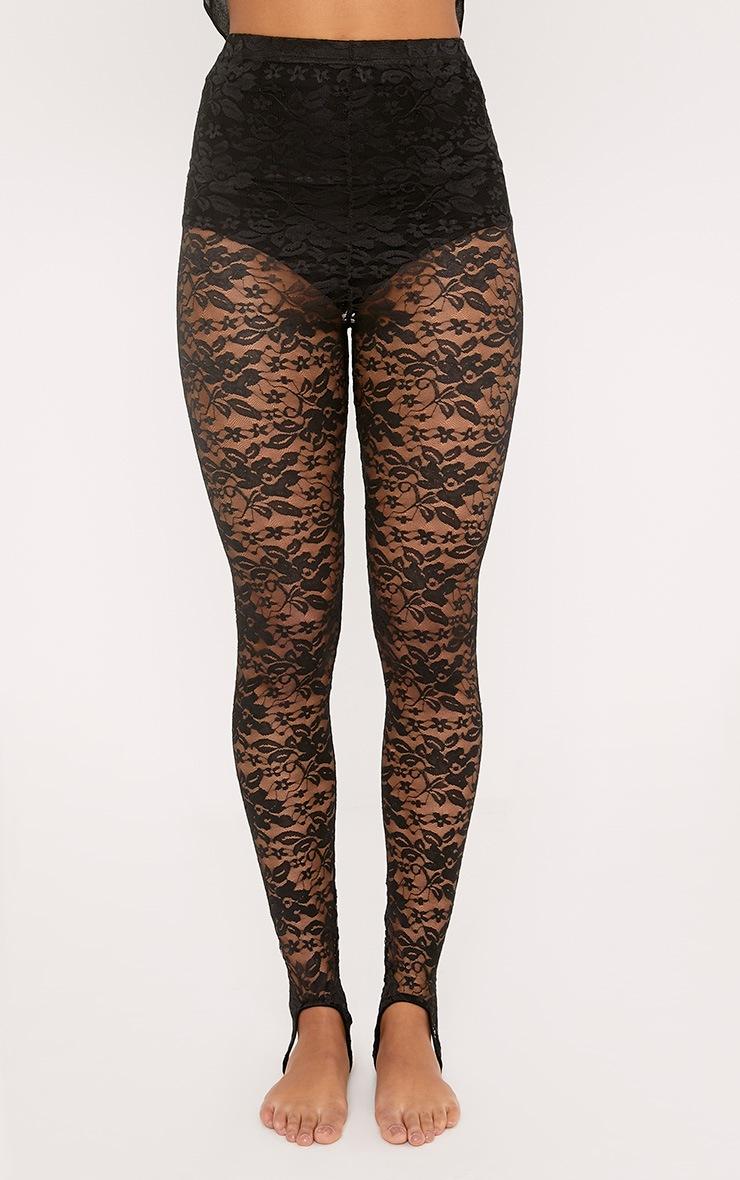 Sammy Black Lace Stirrup Leggings 2