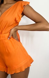 Bright Orange Tie Back Romper 4