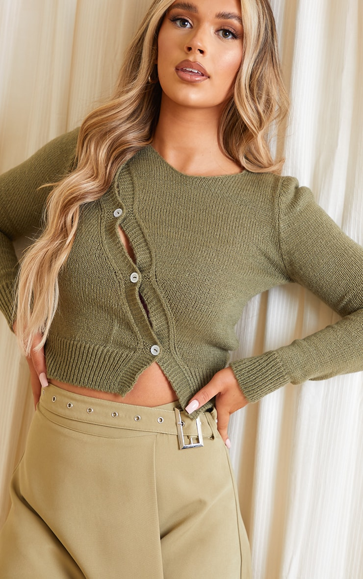 Olive Asymmetric Button Knitted Cardigan 4