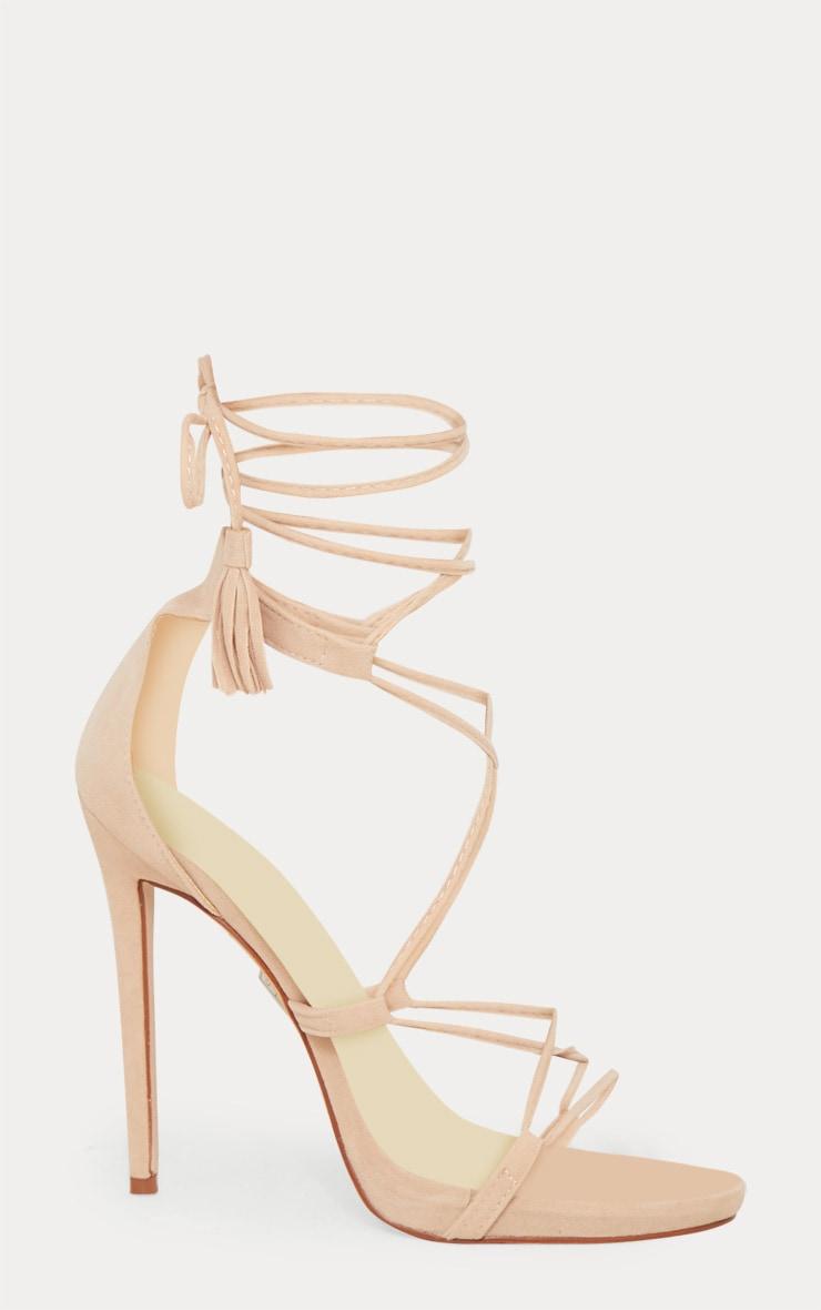 Rosaline Nude Tassel Lace Up Heels 3