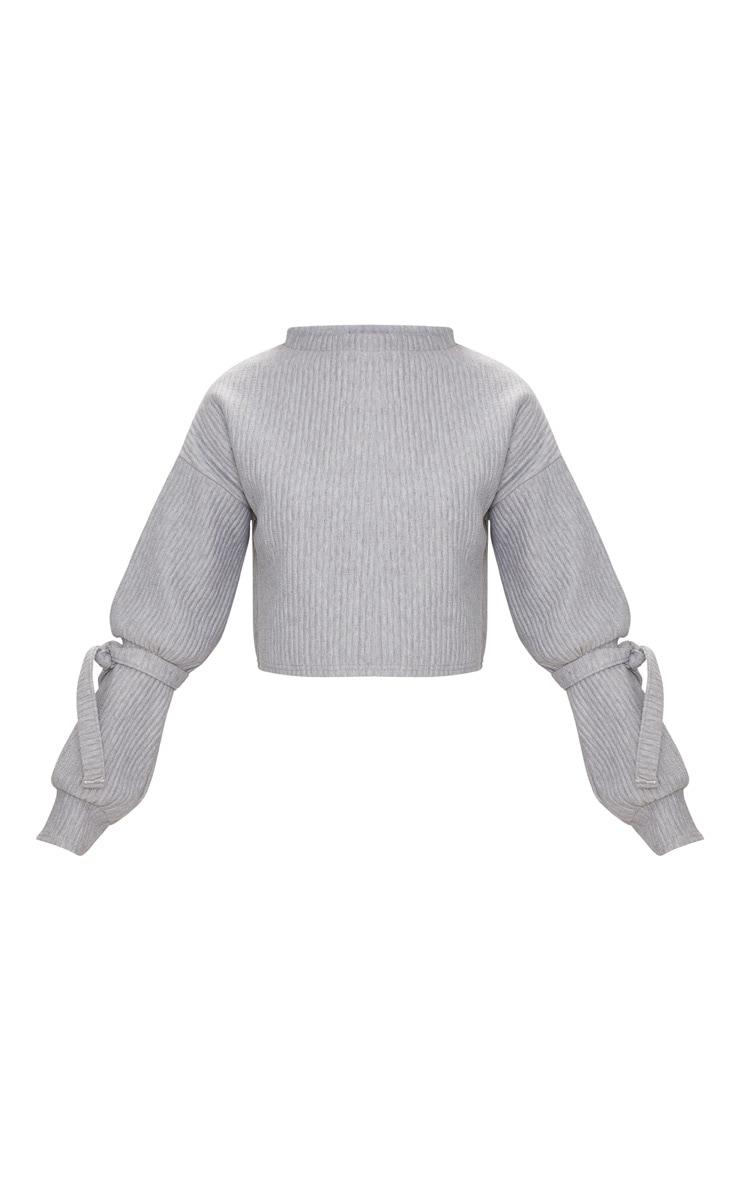 Grey Rib Cuff Detail Sweater  3