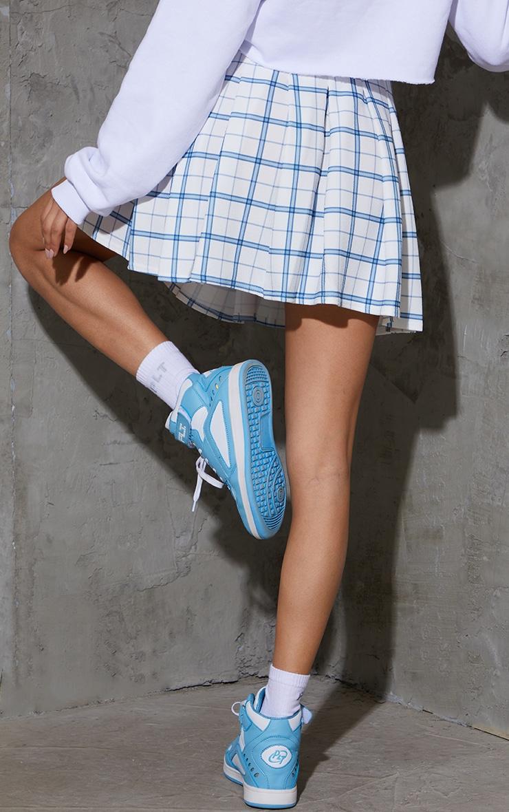White Check Tennis Side Split Skirt 3