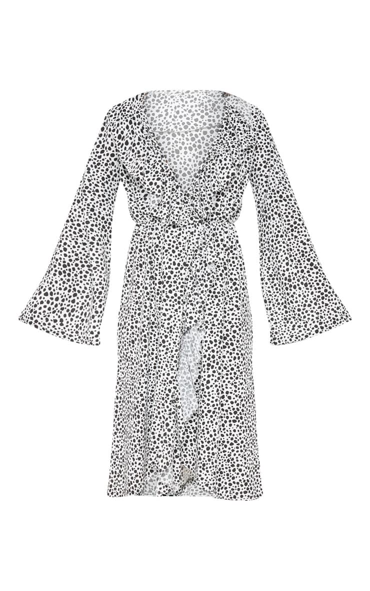 White Dalmatian Print Wrap Front Frill Midi Dress 3