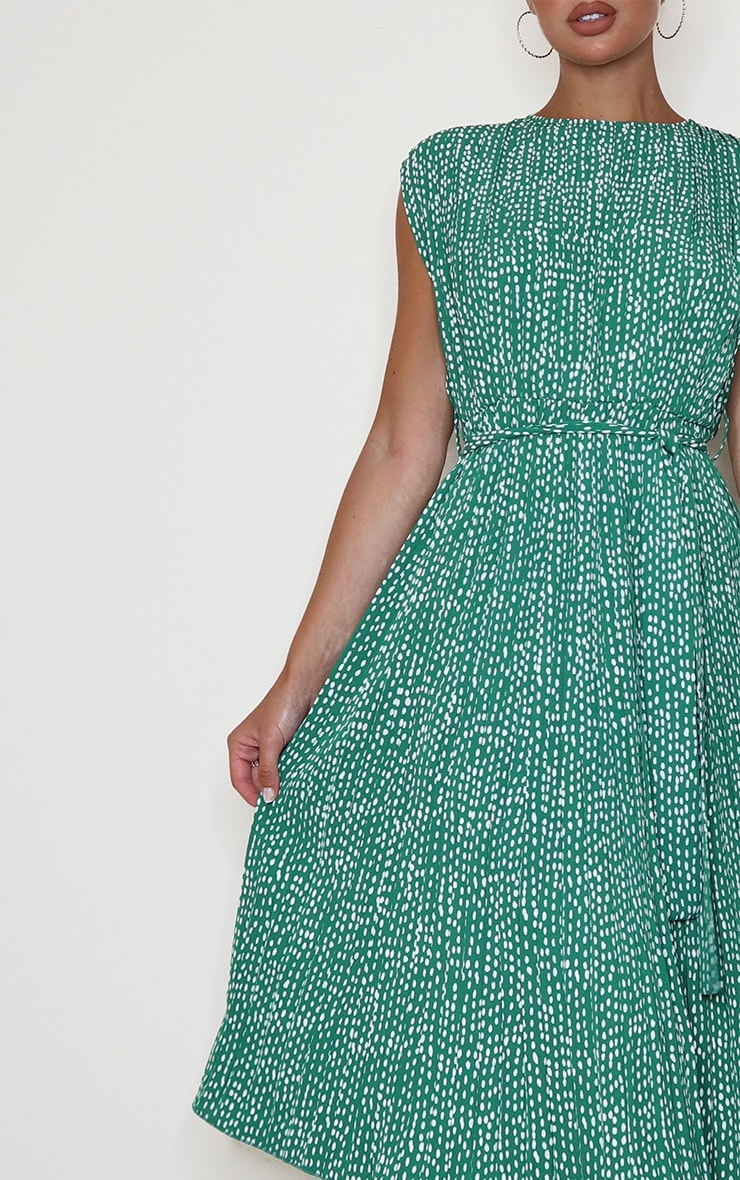 Green Dalmatian Print Pleated Sleeveless Midi Dress 4