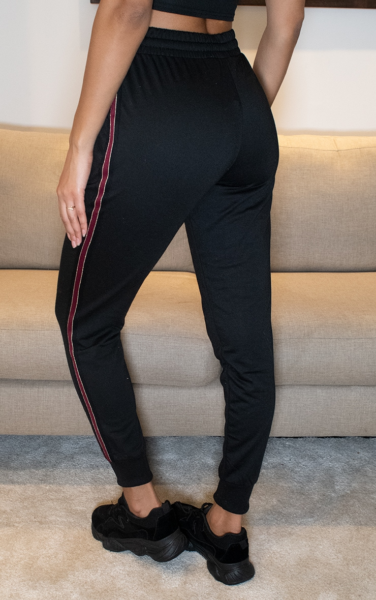 Black Side Stripe Detailed Joggers 3