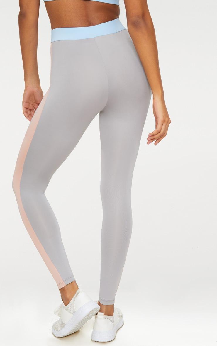 Grey Contrast Panelled Sports Leggings 4