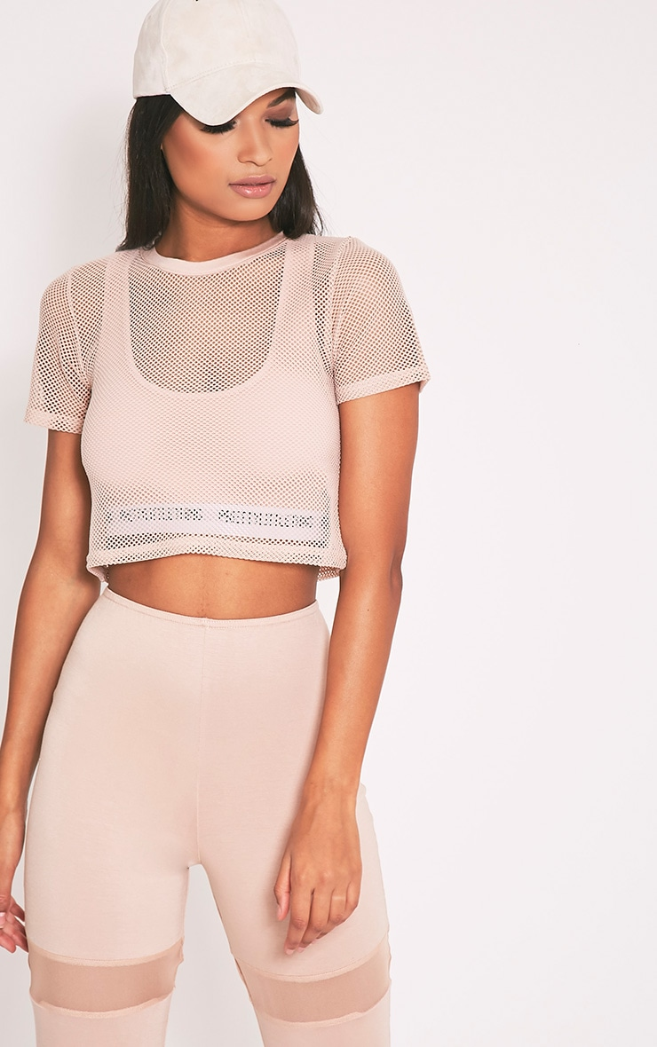 Mayce Nude Fishnet Shortsleeve Crop Top 1