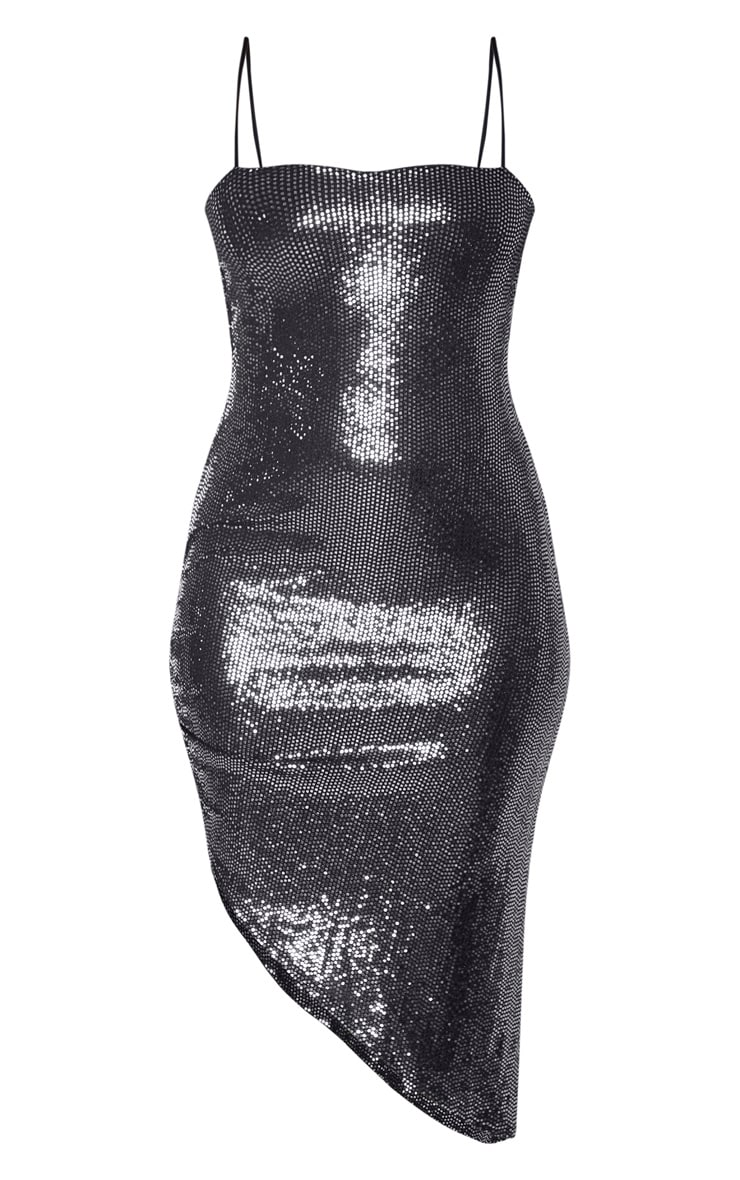 Silver Strappy Glitter Ruched Side Detail Midi Dress 3