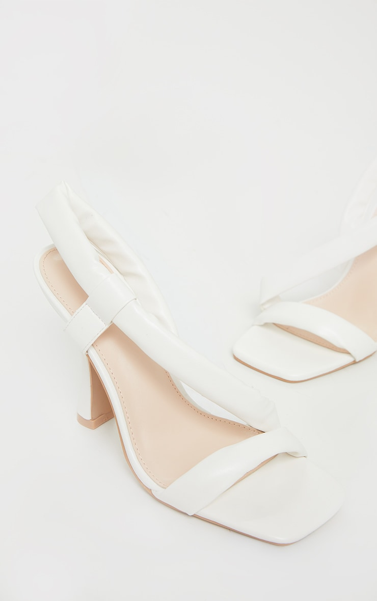 White Square Toe Low Flare Heel Sandals 4